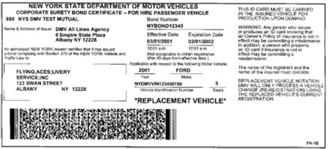 Sample Ny State Insurance Id Cards