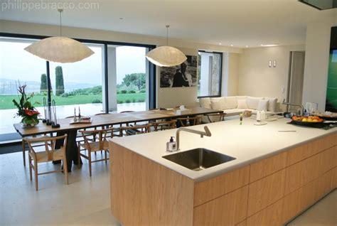 cuisine ilot central table manger cuisine avec ilot central et grande table à manger
