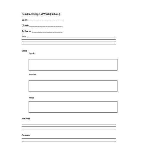 work template 30 ready to use scope of work templates exles