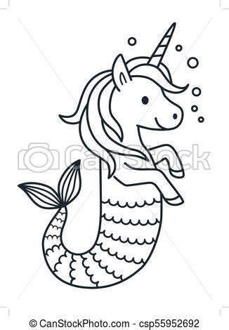 cute unicorn mermaid vector coloring page cartoon illustration magical creature  unicorn