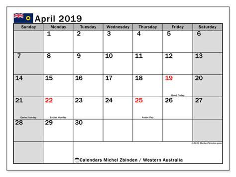 april  calendar western australia australia