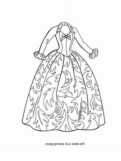 Coloring Pages Fancy Dresses Dressed Getting Barbie