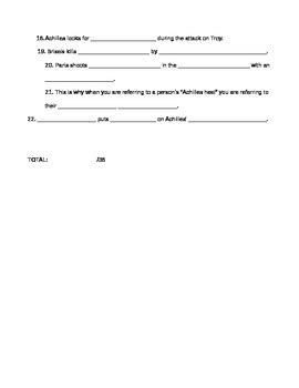 """Fillintheblank Worksheet For Film """"troy"""" By High School Resources"""