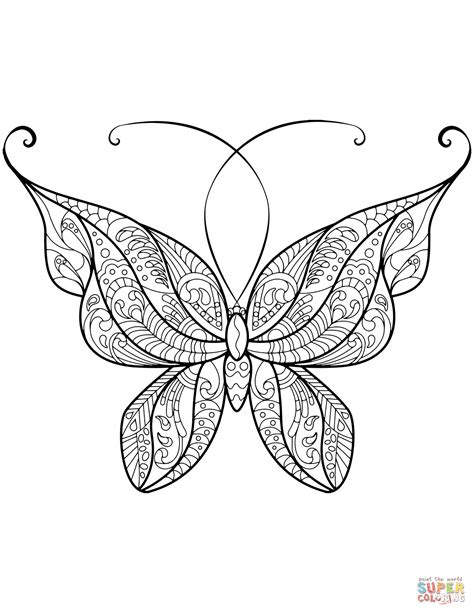 zentangle butterfly coloring page  printable
