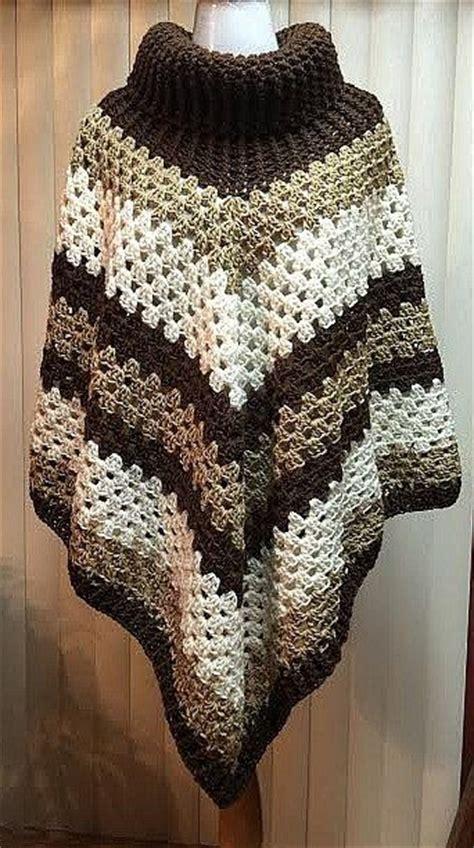 crochet poncho cowl neck poncho brown poncho cowl