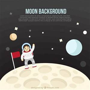 Astronaut background on the moon Vector | Free Download