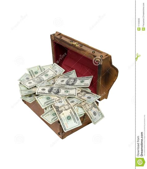 wooden treasure chest full  money stock photo image
