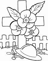 Coloring Poppy Veterans Printable Happy sketch template