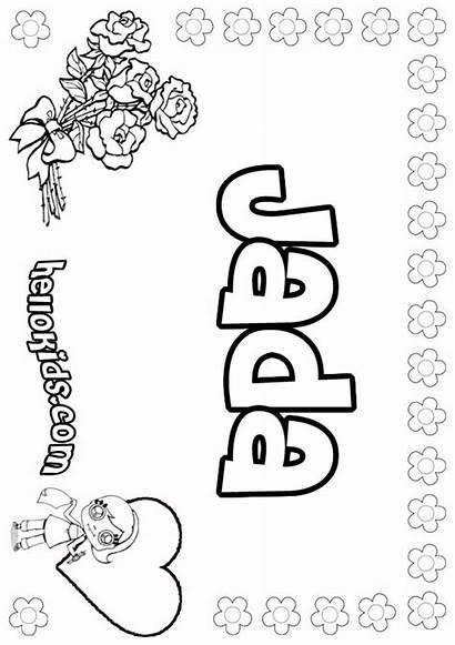 Jada Coloring Pages Aria Names Sheets Printable