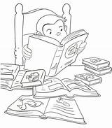 Curious George Coloring Pages Reading Printable Summer Halloween Books Monkey Colouring Library Baseball Worksheets Cartoon Kid Sheets Getcolorings Fest Boo sketch template
