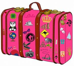 Suitcase clipart pink suitcase - Pencil and in color ...
