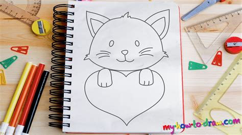draw cute kittens  love hearts easy step