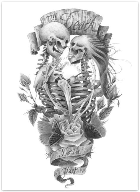 skeleton couple tattoo ideas  pinterest skull