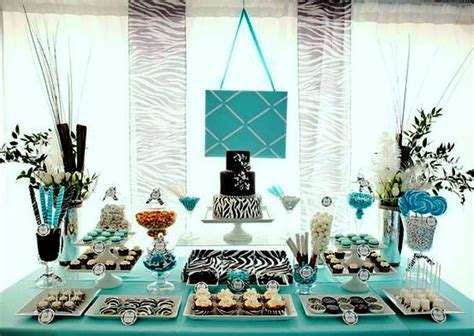 Non Traditional Baby Shower by Non Traditional Teal And Black Dessert Table For A Baby