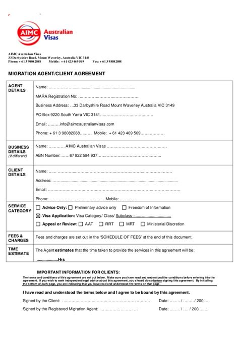 immigration form for siblings migration agent client agreement