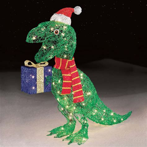 trim  home  ct icy dinosaur holding presents
