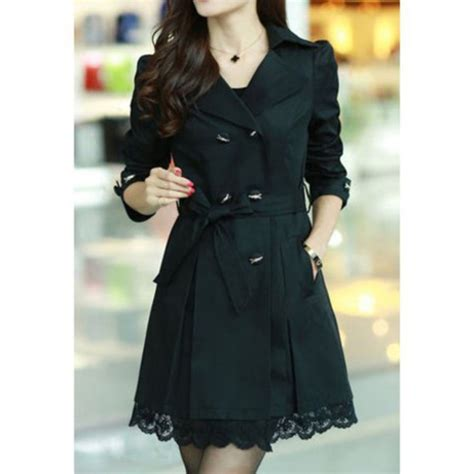 Jacket lace black casual cute girly fall outfits winter outfits fashion style trench ...