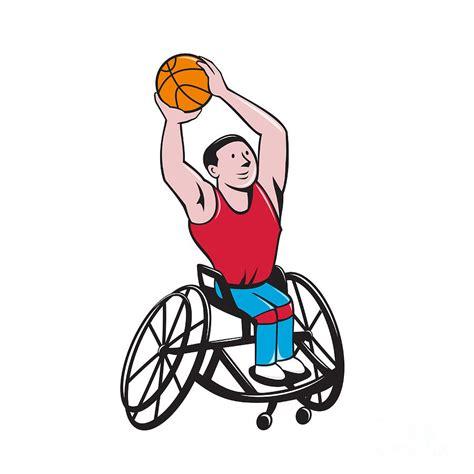 Wheelchair Basketball Player Shooting Ball Cartoon Digital ...