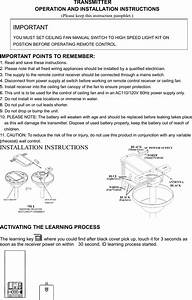 Ceiling Fan Remote Control Installation Instructions