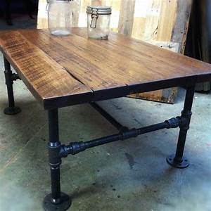 custom made industrial cast iron pipe coffee table by js With coffee tables made from reclaimed wood