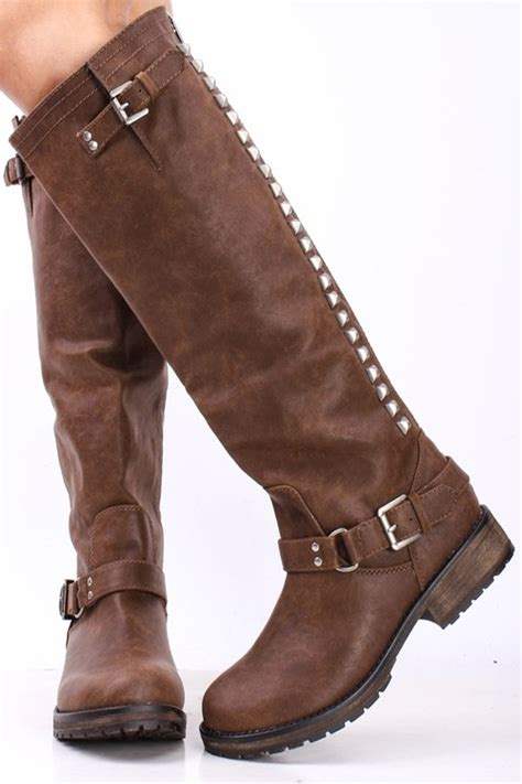 light brown faux leather studded knee high riding rider