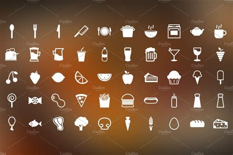 snack time  food themed icons icons creative market