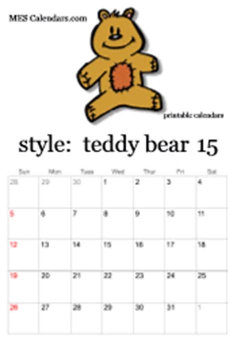 printable teddy bear calendars calendar maker teddy