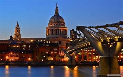 St London Cathedral Night Bridge Millennium Paul