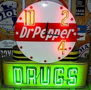 Dr Pepper Drugs Neon Clock Porcelain Sign