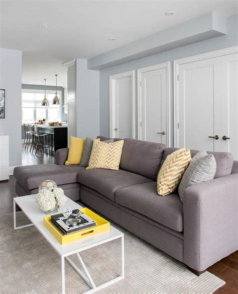 pillows for living room sofa gray sofa with chaise lounge and yellow pillows
