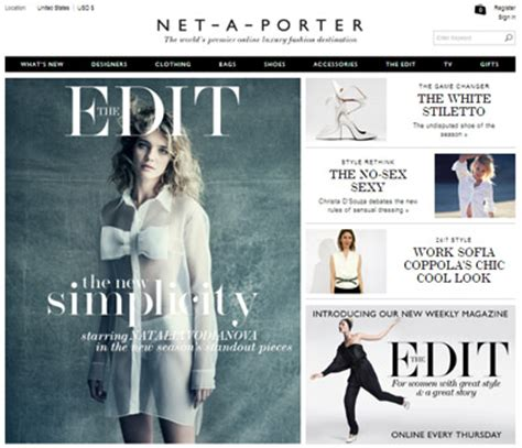 net a porter asserts style authority via weekly shoppable magazine luxury daily