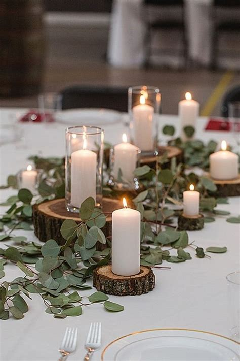 chic rustic wedding centerpieces  tree stumps