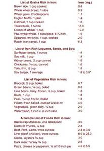 Iron-Rich Food List Printable