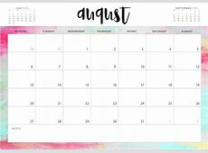 August 2018 Waterproof Calendar Calendar 2018