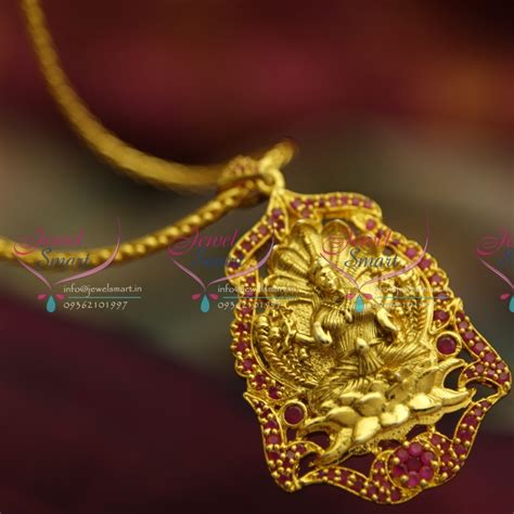 ps4066 indian traditional antique gold plated temple laxmi pendant ruby jewellery set