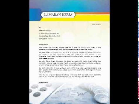 contoh template surat lamaran kerja bahasa indonesia youtube