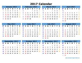 2017 Calendar with Holidays Free