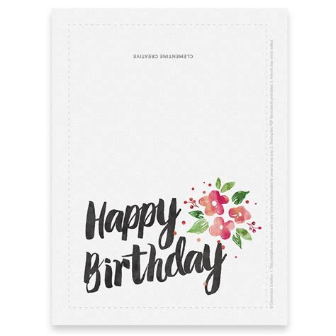 printable birthday card   clementine creative