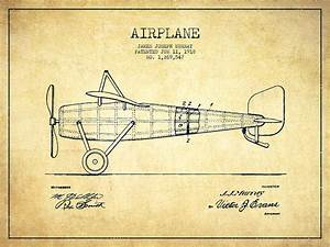 Airplane Patent Drawing From 1918 - Vintage Digital Art by