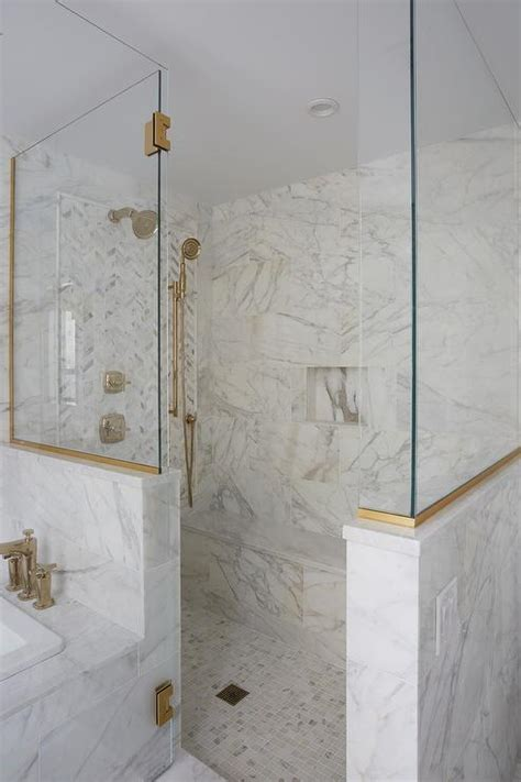long marble shower bench transitional bathroom