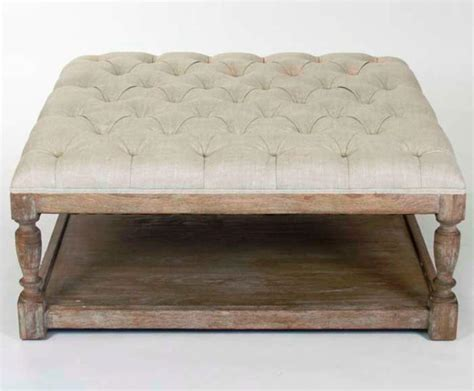 White Fabric Ottomans Coffee Tables Wooden Brown Classic Motive Legs Simple Imposing. Furniture