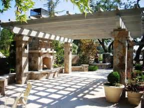 Pergola with Fireplace and Patio