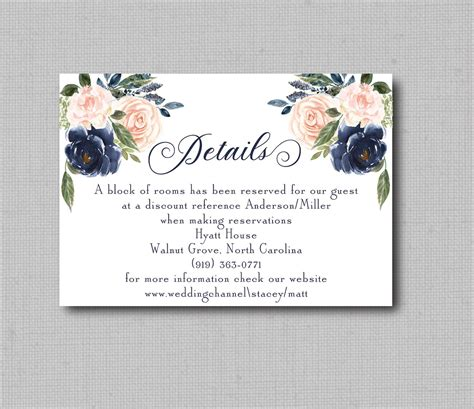 Navy Blue and Blush Watercolor Floral Geometric Wedding