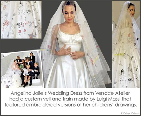 Angelina Jolie-pitt's Wedding Gown And Veil Decorated With