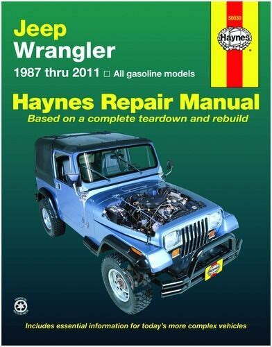 car repair manuals online pdf 1992 jeep wrangler spare parts catalogs haynes repair manual 50030 jeep wrangler 87 11 ebay