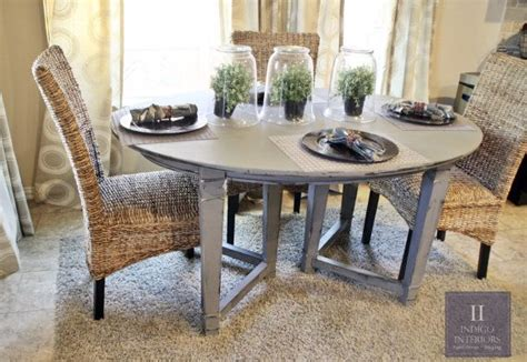 gray distressed dining kicthen table  indigointeriors