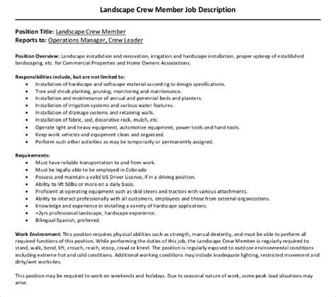 What Is Crew Member Description by 10 Landscaping Description Templates Pdf Doc