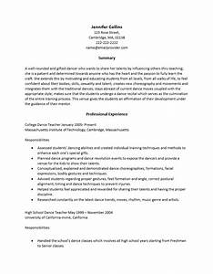 dance resumes template resume builder With dance resume format