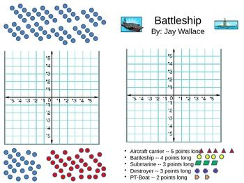 Battleship Game Xy Coordinate Plane By Jay Wallace Tpt