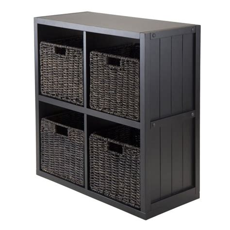 Black Bookcase With Baskets by 5pc 2x2 Wainscoting Shelf With 4 Husk Baskets In Black 20425